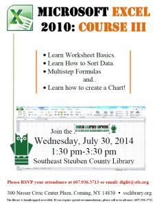 Excel III Workshop July 30, 2014