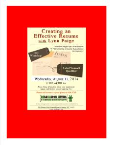 Creating An Effective Resume August 13, 2014