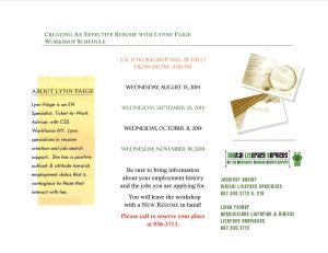Resume Workshop & Job Fair Brochure Side B