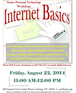 Senior Personal Technology  Internet Basics August 22, 2014
