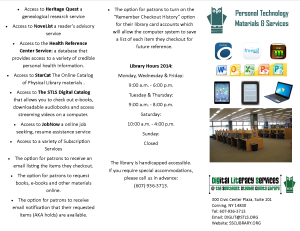 Personal Technology Materials & Services Brochure Side A