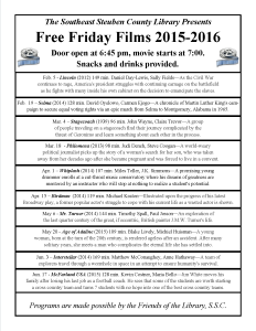 Friday Night Free Films @ SSCL Winter/Spring 2016