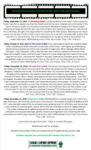 Summer Science Fiction Films @ The Library Fall Schedule 2015 Legal Size Flyer