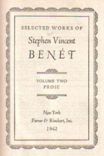 Selected Works of Stephen Vincent Benet V 2